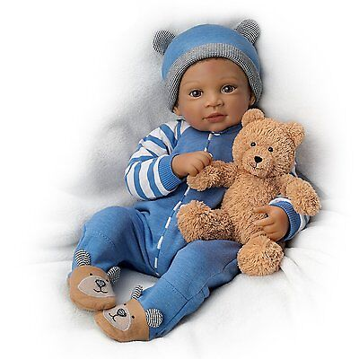 Ashton Drake - CALVIN AND TEDDY B Baby Boy Doll By Waltraud Hanl