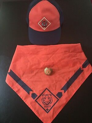 BSA Boy Scouts of America TIGER Cub Hat, Neckerchief And Slide
