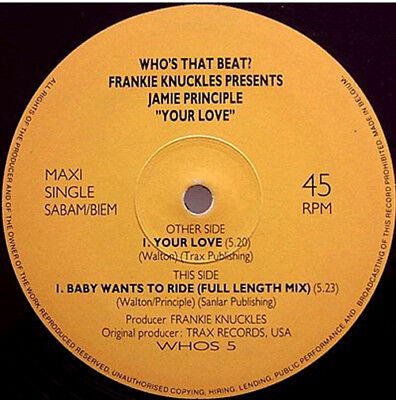 """Frankie Knuckles presents Jamie Principle – Your Love - Baby Wants To Ride 12"""""""
