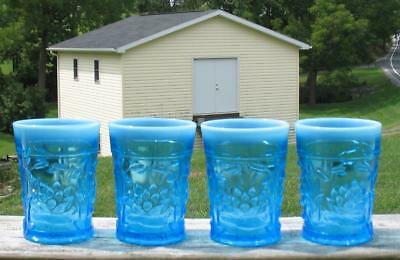 "BLUE OPALESCENT ""WATERLILY & CATTAILS"" set of (3) FLAT WATER TUMBLERS"