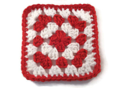 "Crochet Granny Squares 20 Pieces 5"" Red and White"