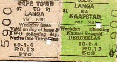 Railway train ticket SOUTH AFRICA Cape Town to Langa 1961