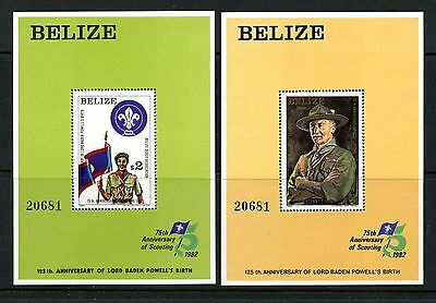 Belize #644-645 S/S (BE393) Boy Scouts 75th Anniversary, MNH,VF,CV$55.00