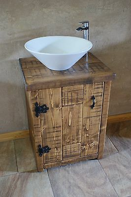 New Rustic Chunky Solid Wood Bathroom Sink Vanity Unit Washstand