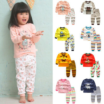 Cute Cartoon Kids Baby Infants Boys Girls Sleepwear Nightwear Pajamas Sets 0-4Y