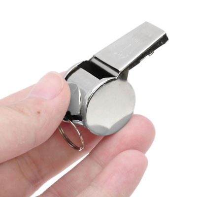 Silver Sport Training Ultrasonic Sound Steel Silver Metal Whistle Keychain Pitch