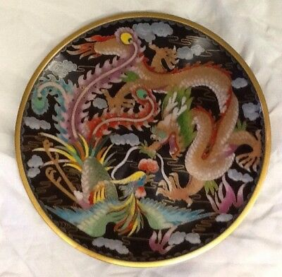 Collectable Cloisonne Dragon & Bird Plate