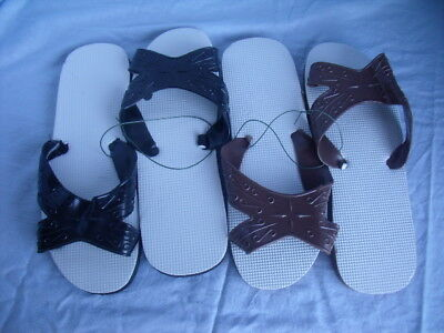 72 Pairs Mens Brown Black/White Band Small 7/8 Shower Shoes Flip Flops J6