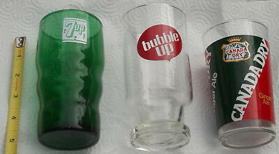 """3 Vintage Soft Drink Soda Glasses--""""7 Up""""--""""bubble Up""""--""""canada Dry""""-Very Nice!"""