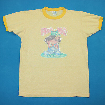Vintage 70s HUG ME I'M LONELY Heather Yellow Roach Ringer Tee T Shirt S/M