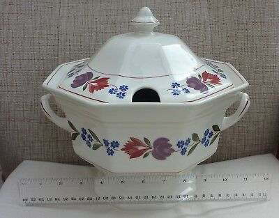 """Adams Old Colonial soup tureen with lid, hexagonal shape 10"""" x 10"""""""