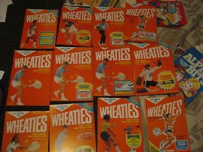 12 qty of 1970 - 80's Wheaties Cereal Boxes Fronts Jenner, others vintage old
