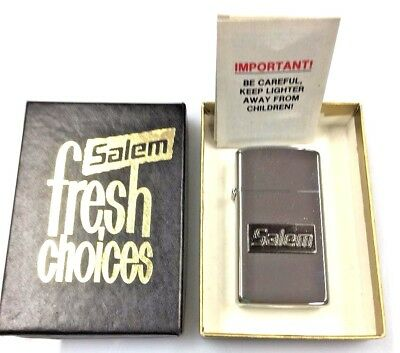 Vintage Zippo Salem Cigarettes Advertising Slim Lighter W/ Original Box ca. 1991