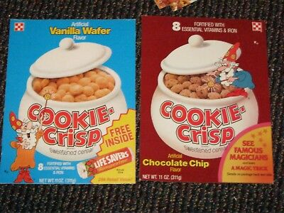 2 qty of 70 - 80's Ralston Cookie Crisp Cereal box fronts vanilla choc chip old