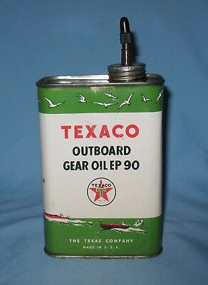 Vintage TEXACO OUTBOARD GEAR OIL EP 90 Metal Can Boat Marine Graphics Motor Oil