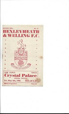 BEXLEYHEATH & WELLING v CRYSTAL PALACE 1955/56 SPECIAL MATCH 4th May 1956