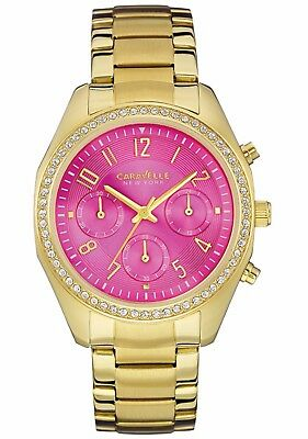Caravelle Women's 44L168 Crystals Chronograph Pink Dial Gold-Tone 36mm Watch