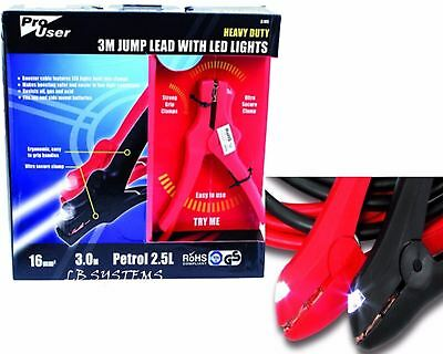 Pro User Heavy Duty Booster Cables 3M Jump Leads Clamp With Led Lights