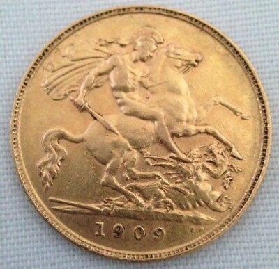 1909 22ct George V Solid Gold Half Sovereign Coin - London Mint