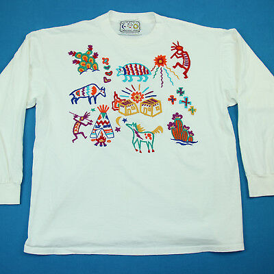 Vintage 90s MEXICAN EMBROIDERED Southwest Native Hippie Tee Boho Top T Shirt