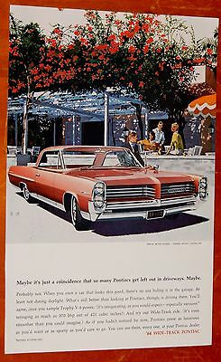 Red 1964 Pontiac Bonneville Coupe Beautiful Ad - Vintage American 60S Classic