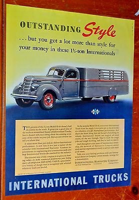Beautiful 1940 International Truck Ad With 1940 Pontiac Ad On The Back - Vintage