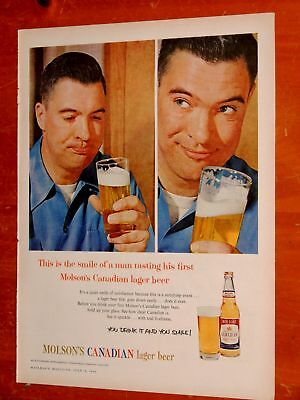 Cool 1960 Molson Canadian Lager Beer Ad + Trans Canada Telephone Co. Ad On Back