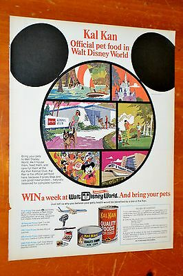 1972 Kal Kan Ad Win A Trip To Disney World Contest Ad - Vintage Mickey Mouse