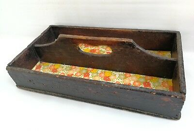 Vintage Victorian Butler Tray Cutlery Box Carrier Wood With Handle