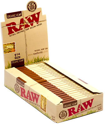 Raw 1.25 (1 1/4) Organic Hemp Rolling Paper Full Box (24 pk)