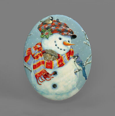 Color Printing Snowman Shell Christmas Pendant Necklace R1709 0038