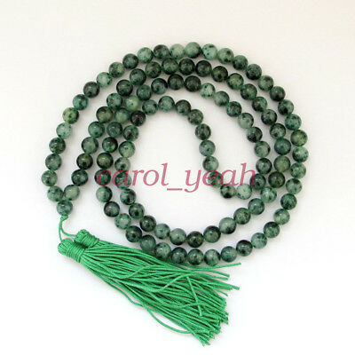 New 8mm Tibet Buddhist 108 Jade Prayer Beads Mala Necklace AAA+