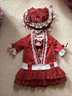 """Antique,repro Dolls Dress Set, Burgundy,embroidery In Silks Satins,lace,24"""" 26""""d"""