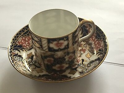 Antique Royal Crown Derby Imari Gilded 2451 Coffee Can Saucer Old Mark