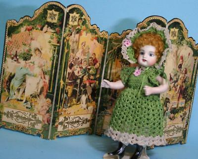 "Jean Nordquist's Antique Reproduction Four Panel Screen for dolls sized 7"" - 9"""