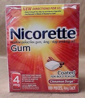Nicorette Gum 4 mg Stop Smoking Aid Cinnamon Surge 100 Pieces Exp 10/17 + SEALED