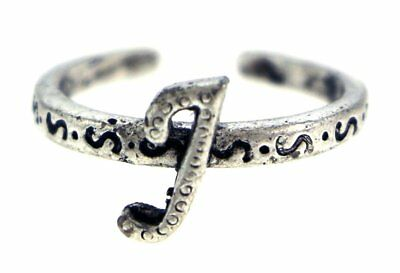 Antique Silver-Tone Toe Ring With The Letter 'J' Initial TR42A-J