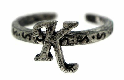 Antique Silver-Tone Toe Ring With The Letter 'K' Initial TR42A-K