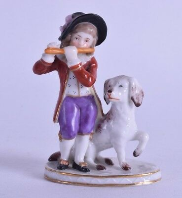 antique porcelain figure - samson porcelain figurine boy & dog  - gold anchor mk