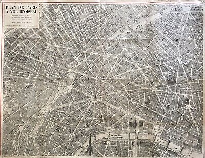 Original Plan de Paris A vol d'oiseau Peltier c1940