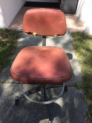 Vintage INDUSTRIAL STOOL swivel steel metal chair seat steampunk drafting