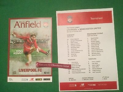 Liverpool V Manchester United 2017/18 Programme,Team Sheet And Wrist Band.