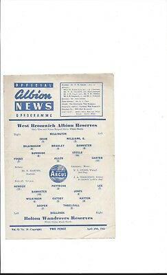 West Bromwich Albion Reserves v Bolton Wanderers Reserves ..1960-61
