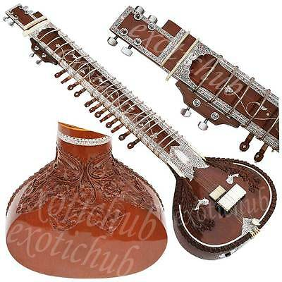 Sitar~Tun Wood~Vilayat Khan Style~Free Mizrabs,string,gig Bag ~Hand Made Indian