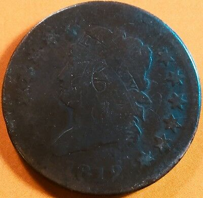1812 Classic Head Large One Cent Coin !