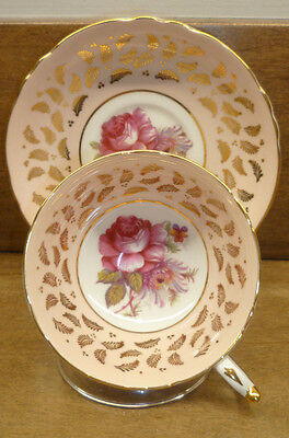 Gorgeous Vintage Paragon Cup And Saucer Large Rose And Floral Gold Trim
