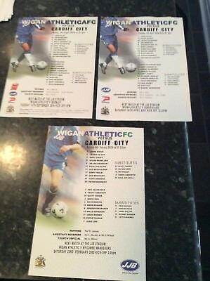 3 X Wigan Athletic Gate Sheets V Cardiff City 2002 And 2004 And 2004