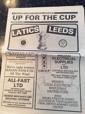 Wigan Athletic V Leeds United Fa Cup Newspaper 13.03.1987 Lancs Evening Post
