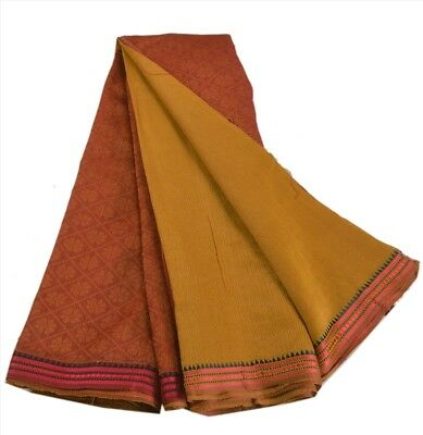 Antique Vintage Blend Cotton Saree Saffron Maroon Woven Sari Home Décor Craft