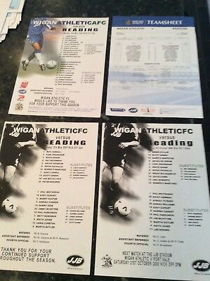 4 X Wigan Athletic Gate Sheets V Reading 2000 And 2001 And 2005 And 200?